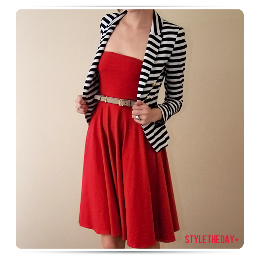 Red sun dress with striped blazer