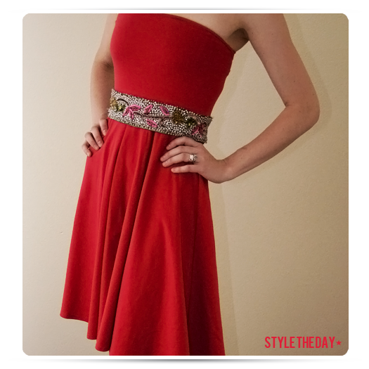 Red Dress With Sequin Belt