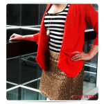 Stripe top with red jacket and gold, sparkly skirt