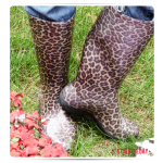Animal print rubber boots